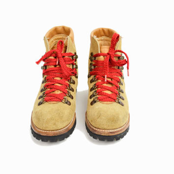 Vintage Leather Hiking Boots with Red Lace / Waffle Stompers - Women's 6/7