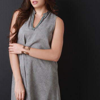 Tribal Trim V-Neck Sleeveless Dress
