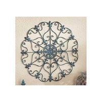 Metal Wall Sculpture Fleur de Lis Iron Teal Blue Antiqued Finish Large Decor
