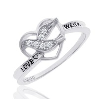Sterling Silver Diamond Purity Dove and Heart Ring 1/15ctw - Size 6