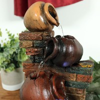 Resin Rustic Brick Wall and Jugs Tabletop Fountain with Light