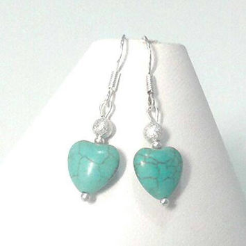 Turquoise Earrings, Turquoise Heart, Gemstone Earrings, Silver Earrings, Birthstone Jewellery, December Birthstone, Valentine Gift