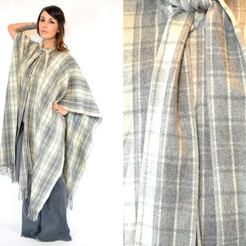 bohemian plaid maxi MEXICAN BLANKET fringed poncho cape w/SCARF styling option, one size fits all