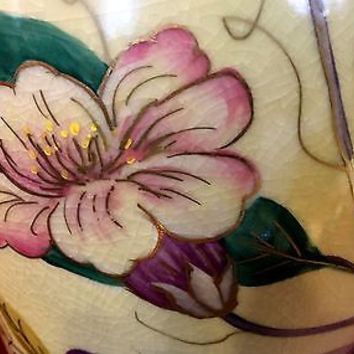 19th C Hand Painted Japanese Porcelain Vase with Purple Flowers & Green Foliage