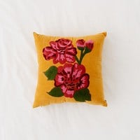 Rosa Embroidered Velvet Throw Pillow | Urban Outfitters