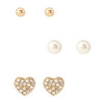 Sparkling Heart Stud Set