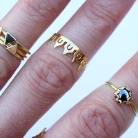 Dainty aztec detail gold above knuckle midi ring from Amelia-May
