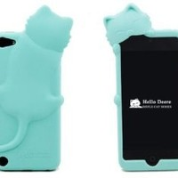 [Icase-mall] Baby Blue Lovely Kiki Cat Silicone Case Cover for Apple iPod Touch 5th Generation 5G 5 with Earphone Anti Dust - Retail Packing Xmas Gift