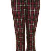 GREEN CHECK CIGARETTE TROUSERS