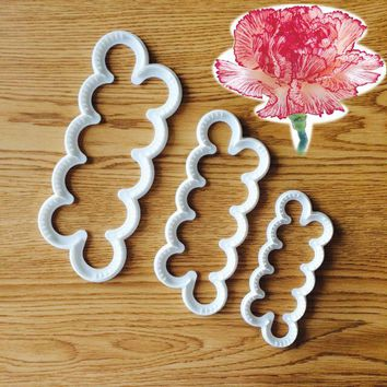 Petal Carnations Flower Fondant Cutter Decorating Sugarcraft Gum Paste Tools Cupcake Kitchen Cookie Accessories 3pcs/set A1147