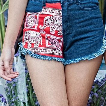 Red Elephant Denim Shorts