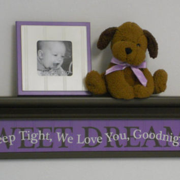 "Purple Baby Nursery Room Decor 30"" Chocolate Brown Wall Shelf with SWEET DREAMS - Lilac Quote Sign - Sleep Tight, We Love You, Goodnight"
