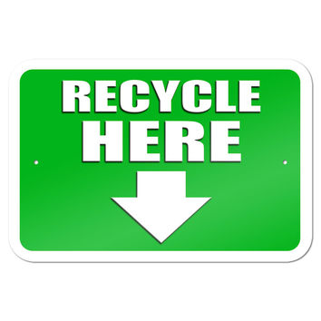"Recycle Here Arrow 9"" x 6"" Metal Sign"