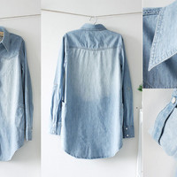 Womens Retro Vintage Pearl Buckle Long Sleeve Jean Denim Shirt Tops Blouse Jrm
