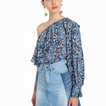 ONE SLEEVE FLORAL RUFFLED TOP