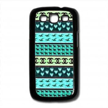 red hollister seagulls chanel sign hearts stripes for samsung galaxy s3 case