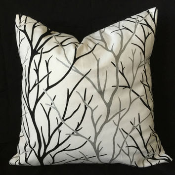 Black White Pillow Cover - Metallic Silver Pillow, Modern Decor, Tree Branch Pillow, Fall Decor, Autumn Winter Pillow