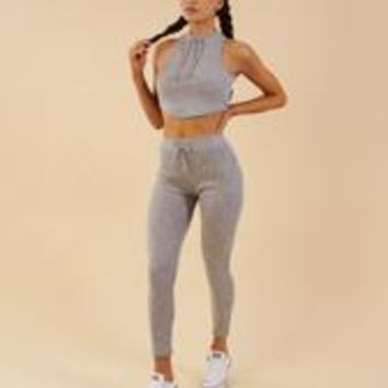Gymshark Slounge Leggings - Light Grey Marl