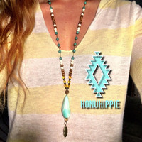 Larimar feather necklace. Boho festival fashion jewelry