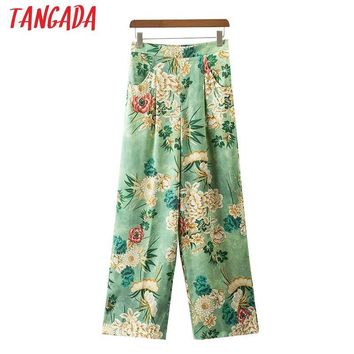 Tangada Floral Print Pants Women Green Vintage Boho Summer Beach Long Pants Elastic Waist Pockets Loose Brand Pants XD22