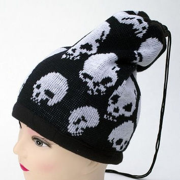Material Face Mask & Beanie with Pull String