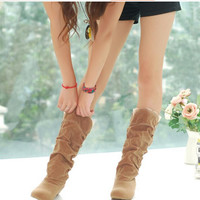 2016 new fashion Spring Autumn casual shoes princess sweet women boot stylish flat flock shoes fashion Mid-calf boots P045