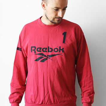 Vintage Reebok goalkeeper sweatshirt / Goalie jersey t-shirt no. 1 / Unisex sports t-shirt tee shirt / Red Black / made in Greece 90s M L