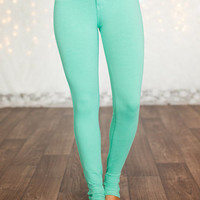 Most Wanted Mint Fitted Jeggings CLEARANCE - Modern Vintage Boutique