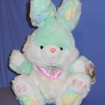 Hoppy Hopster Easter Bunny Green White Pink Nose - Bunnies, Rabbits