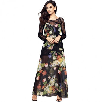Ladies Women Sexy Strap V-Neck Ruffles Floral Maxi Long Chiffon Dress And Long Sleeve Lace Cover-up Sets