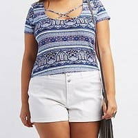 PLUS SIZE STRAPPY PRINTED CROP TOP