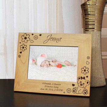 Design 'Newborn Baby' Custom Picture Frame with Boy & Girl Announcement Design Options and Font Choice (Select Size and Frame Orientation)