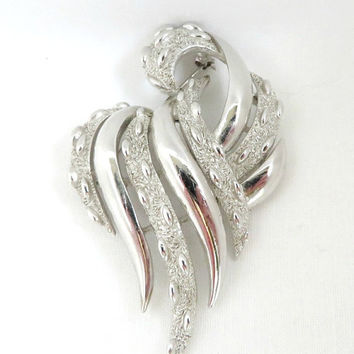 Trifari Silvertone Leaf Brooch, Vintage Shiny and Textured Floral Pin