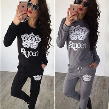 Fashion Women's Two-pices Casual Sport Tops Sweatshirt Track Pants Sweat Suits Tracksuit [9221949188]
