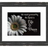 Life & Peace  - Bible Verse Art - Romans 8:6
