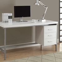 "Computer Desk - 60""L - White - Silver Metal"