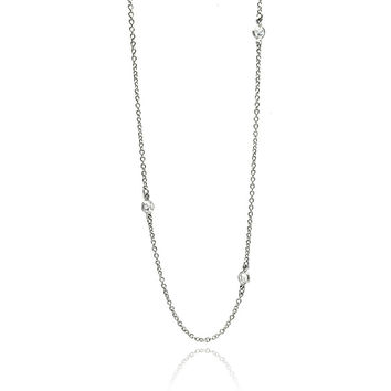 Cubic Zirconia By The Yard Sterling Silver Necklace Stone Size: 4 mm Chain Length: 30 Inches