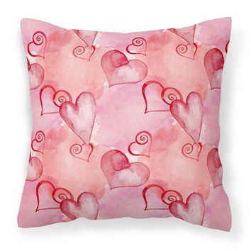 Watercolor Red Hearts Fabric Decorative Pillow BB7565PW1414