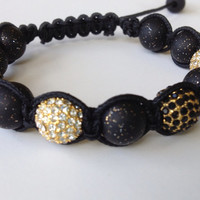Shamballa Bracelet,  Polymer Clay Beads, Black Glitter Beads, 10mm Gold Plated Crystal Pave Beads, UCF, New Orleans Saints