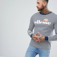 Ellesse Striped Long Sleeve T-Shirt With Logo In Navy at asos.com