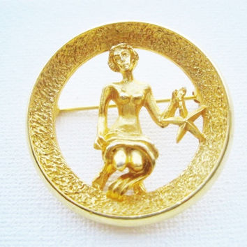 Park Lane Virgo Zodiac Sign Brooch - Designer Signed 1960s  Zodiac Similar To Trifari Zodiac Collection - August September Birthday Gift
