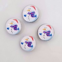 Set of 4 Glass Santa Snowman Refrigerator Magnets Winter Kitchen Home Decor