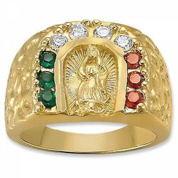 Gold Layered Mens Ring, Guadalupe Design, with Cubic Zirconia, Gold Tone