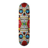 Sugar Skull and Hipster Bright Red Floral Roses Skateboard from Zazzle.com