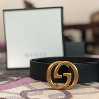 Women's Gucci Belt GG Gold Buckle Leather Black Size 34 / 85 cm 'NEW