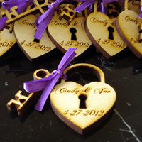 140 Heart and Key Wedding Favors