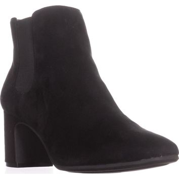 Anne Klein Gorgia Chelsea Ankle Booties, Black/Black Suede, 9.5 US