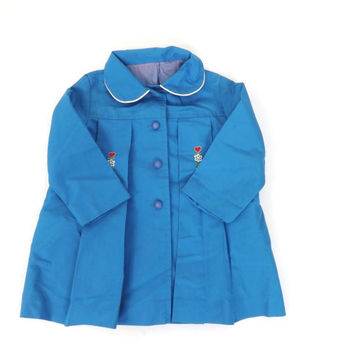 Vintage 1960s 70s Kids Raincoat Little Girl's Blue Heart Embroidered Spring Jacket Nautical Toddler Sailor Coat Childs Trench 60s Pea coat