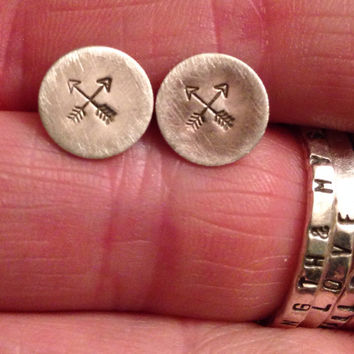 Hand stamped soldered sterling silver post earrings crossed arrows tribal hand stamped silver jewelry