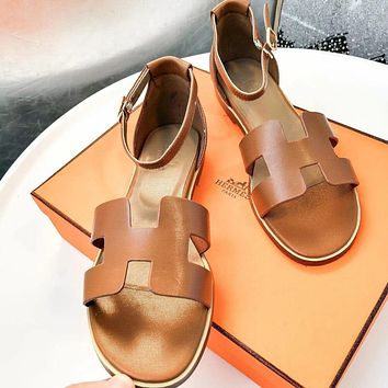 Hermes Summer Popular Women Casual Leather Sandals Shoes Brown